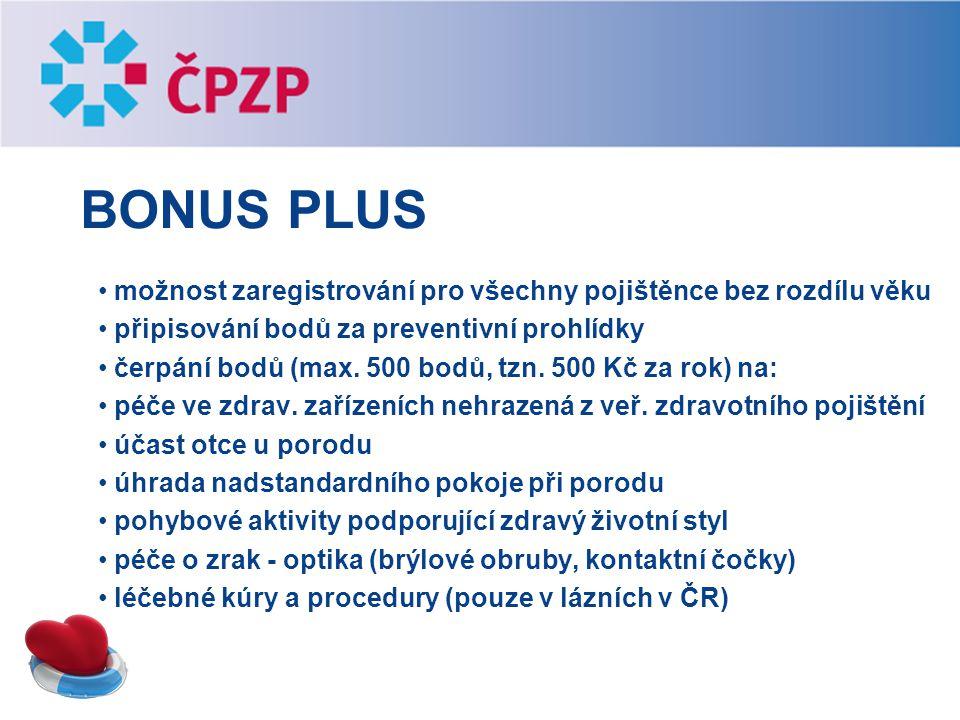 Bonus plus možnost zaregistrování pro všechny pojištěnce bez rozdílu věku. připisování bodů za preventivní prohlídky.