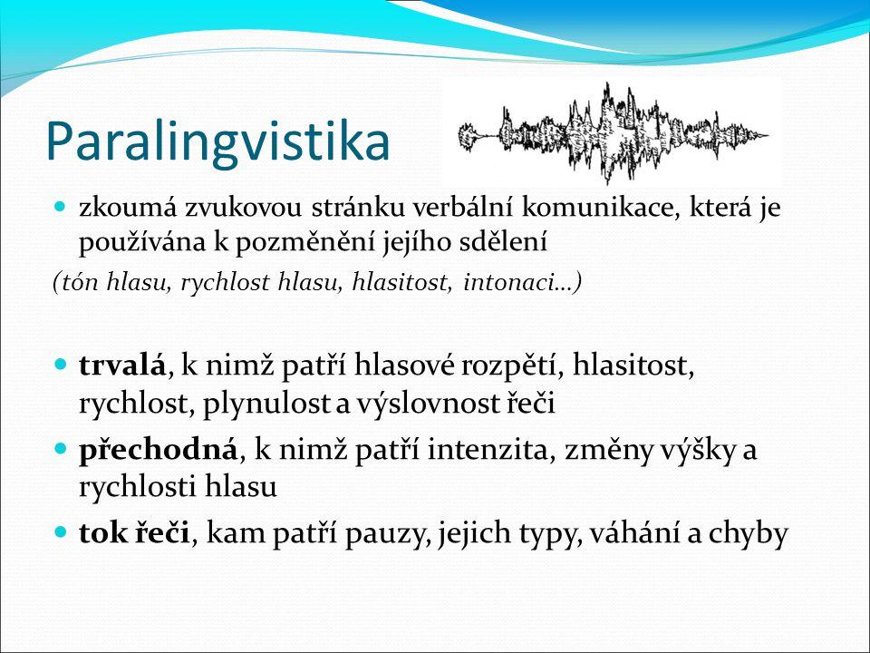 Paralingvistika zkoumá zvukovou stránku verbální komunikace, která je používána k pozměnění jejího sdělení.