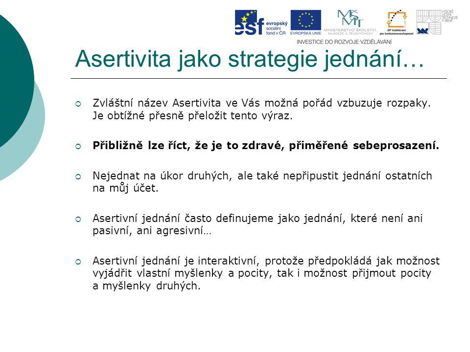 Asertivita jako strategie jednání…