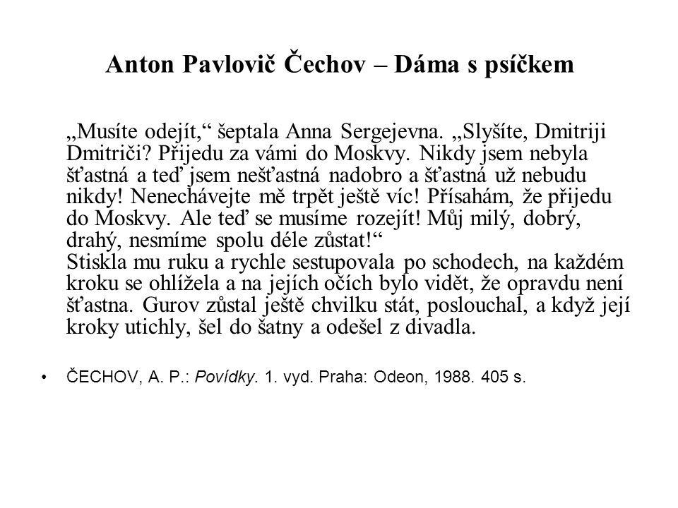 Anton Pavlovič Čechov – Dáma s psíčkem