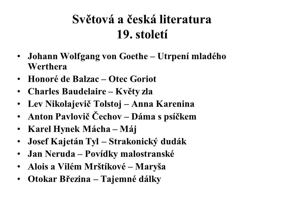 Světová a česká literatura 19. století