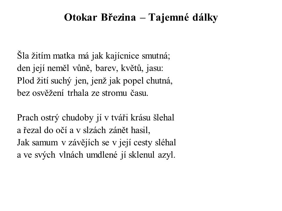 Otokar Březina – Tajemné dálky