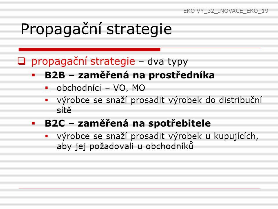 Propagační strategie propagační strategie – dva typy
