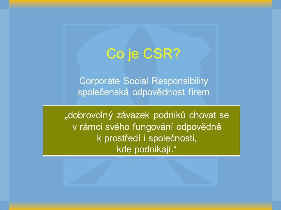 Corporate Social Responsibility společenská odpovědnost firem