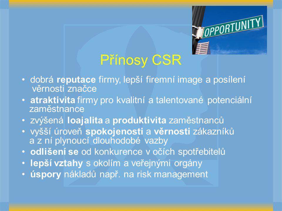Přínosy CSR dobrá reputace firmy, lepší firemní image a posílení věrnosti značce.