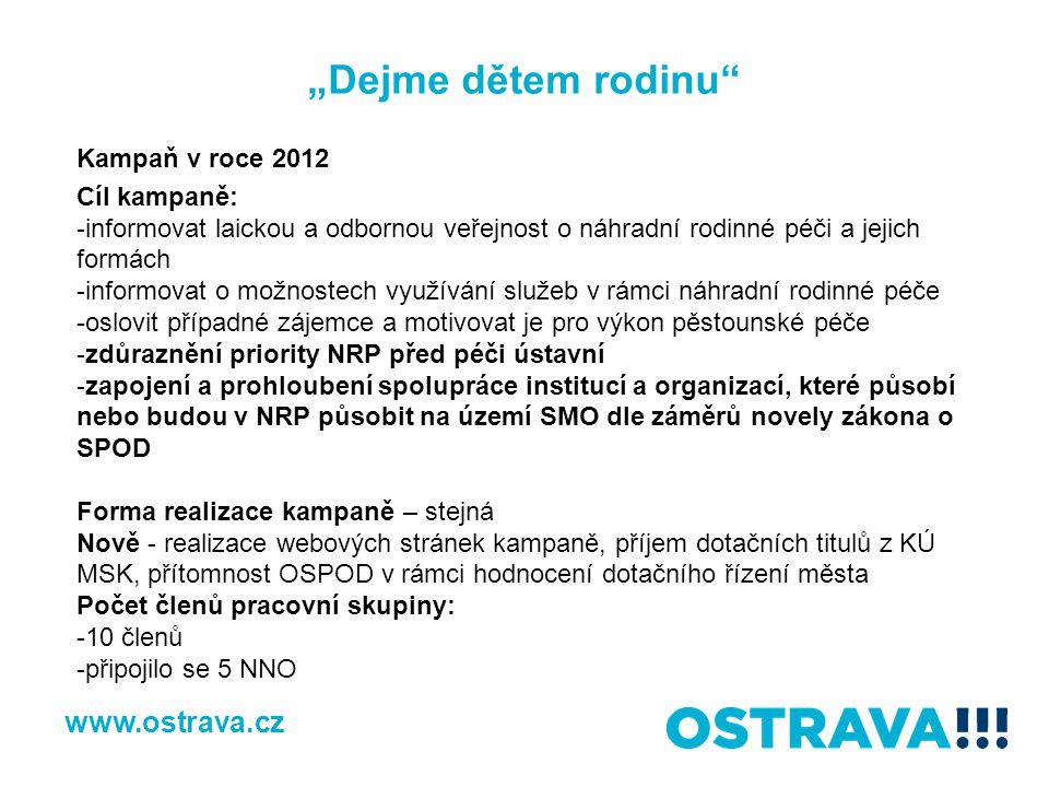 """""""Dejme dětem rodinu www.ostrava.cz Kampaň v roce 2012 Cíl kampaně:"""