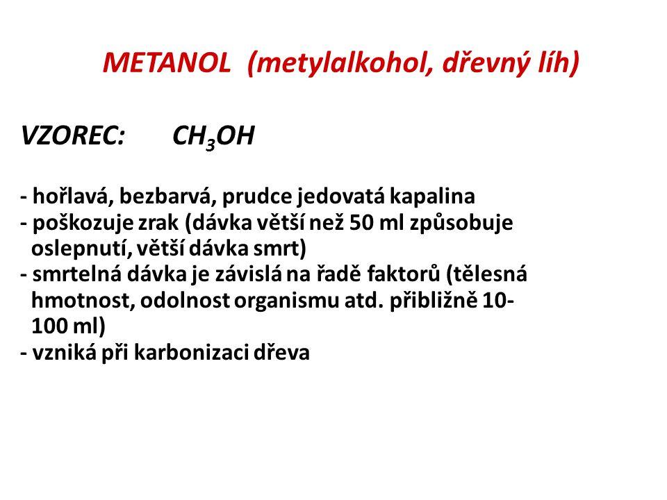 METANOL (metylalkohol, dřevný líh)