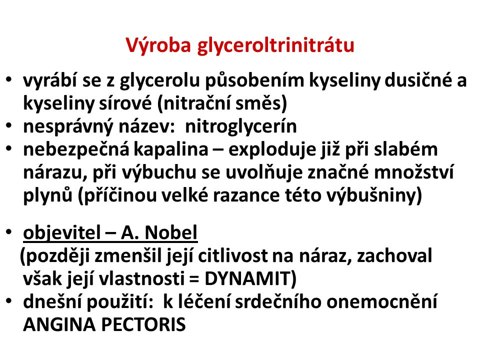 Výroba glyceroltrinitrátu