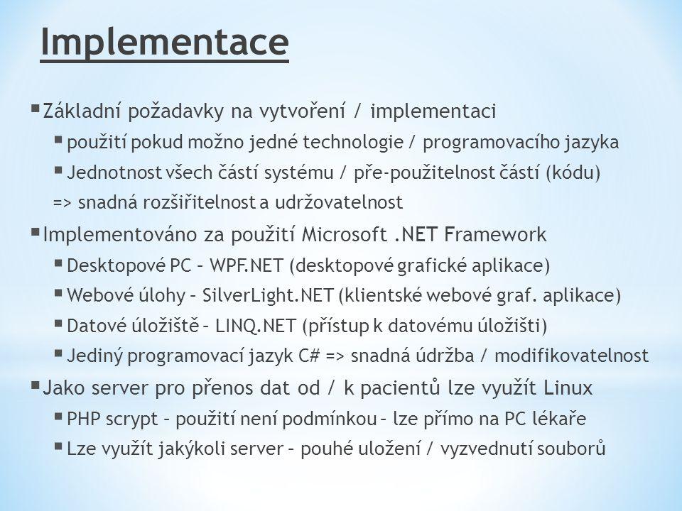 Implementace Základní požadavky na vytvoření / implementaci