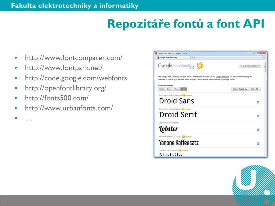 Repozitáře fontů a font API