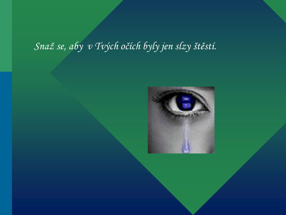 Snaž se, aby v Tvých očích byly jen slzy štěstí.