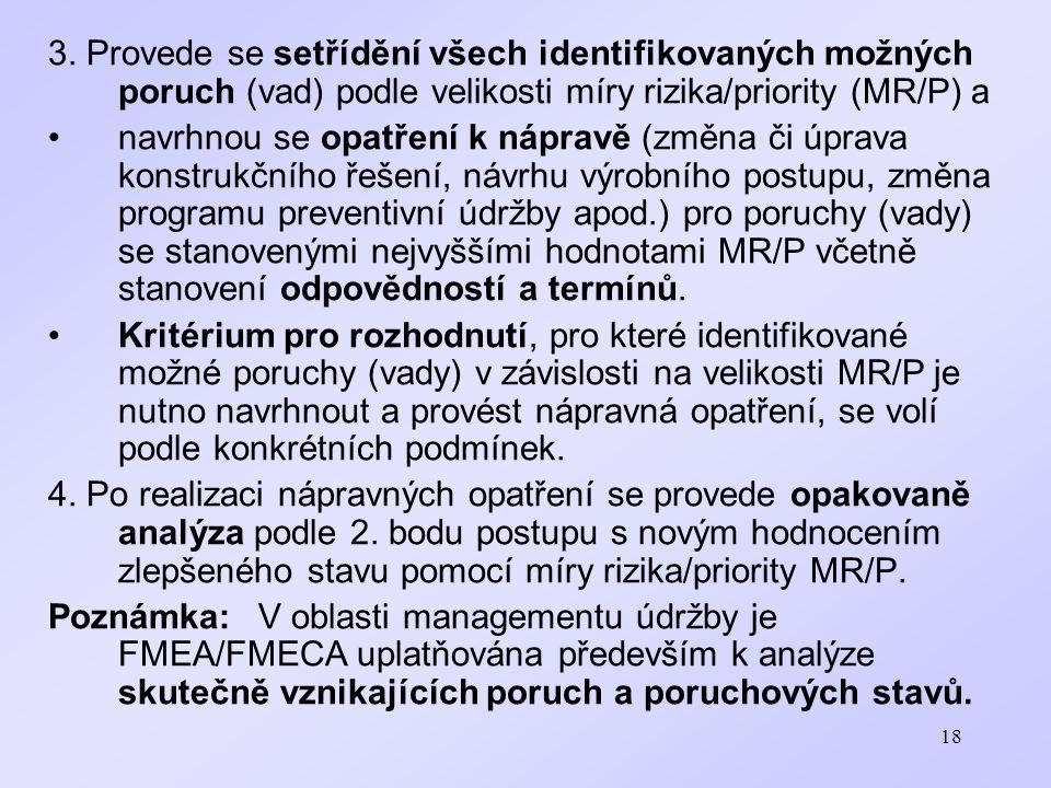 3. Provede se setřídění všech identifikovaných možných poruch (vad) podle velikosti míry rizika/priority (MR/P) a