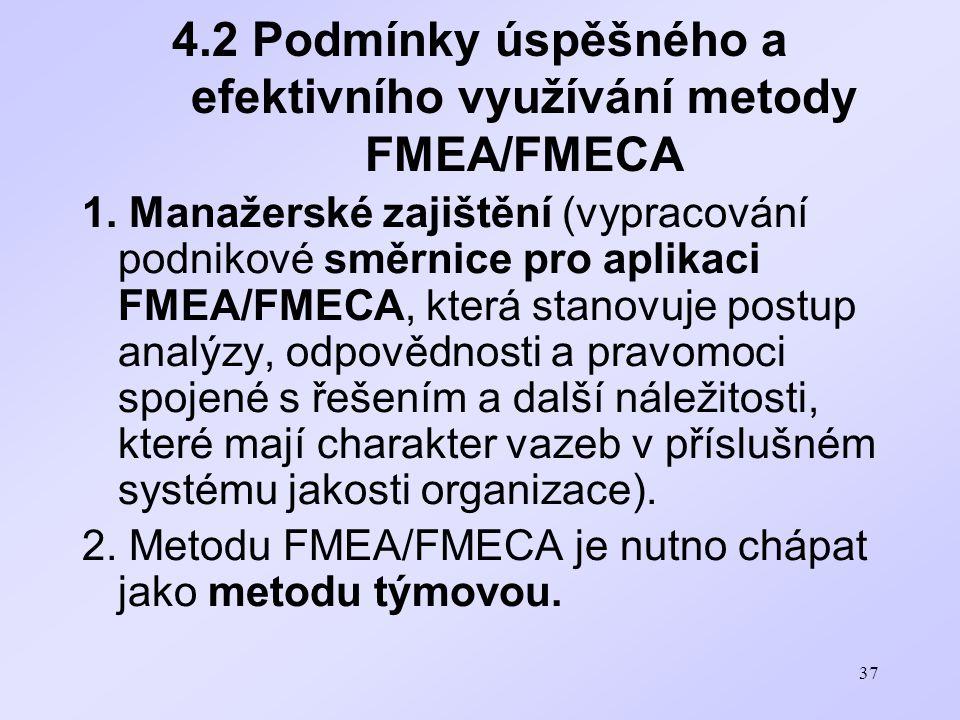 4.2 Podmínky úspěšného a efektivního využívání metody FMEA/FMECA