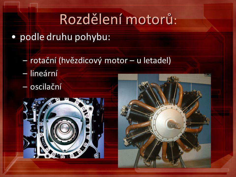 Rozdělení motorů: podle druhu pohybu: