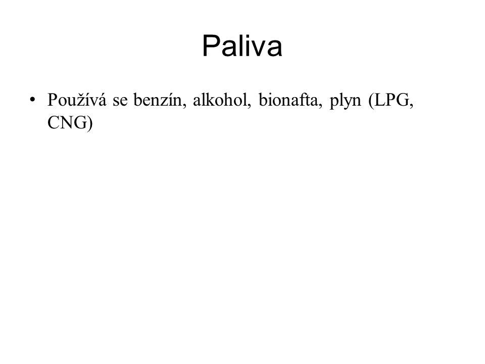 Paliva Používá se benzín, alkohol, bionafta, plyn (LPG, CNG)