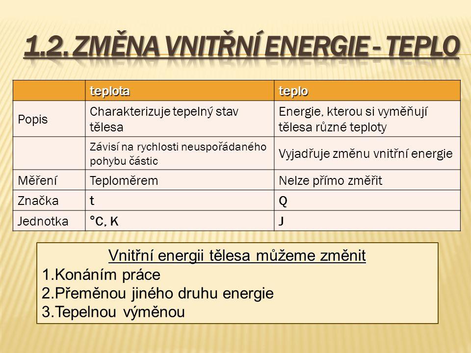 1.2. Změna vnitřní energie - teplo