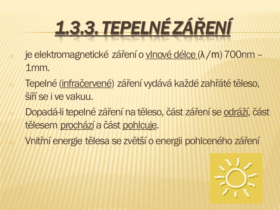 1.3.3. Tepelné záření je elektromagnetické záření o vlnové délce (λ /m) 700nm – 1mm.