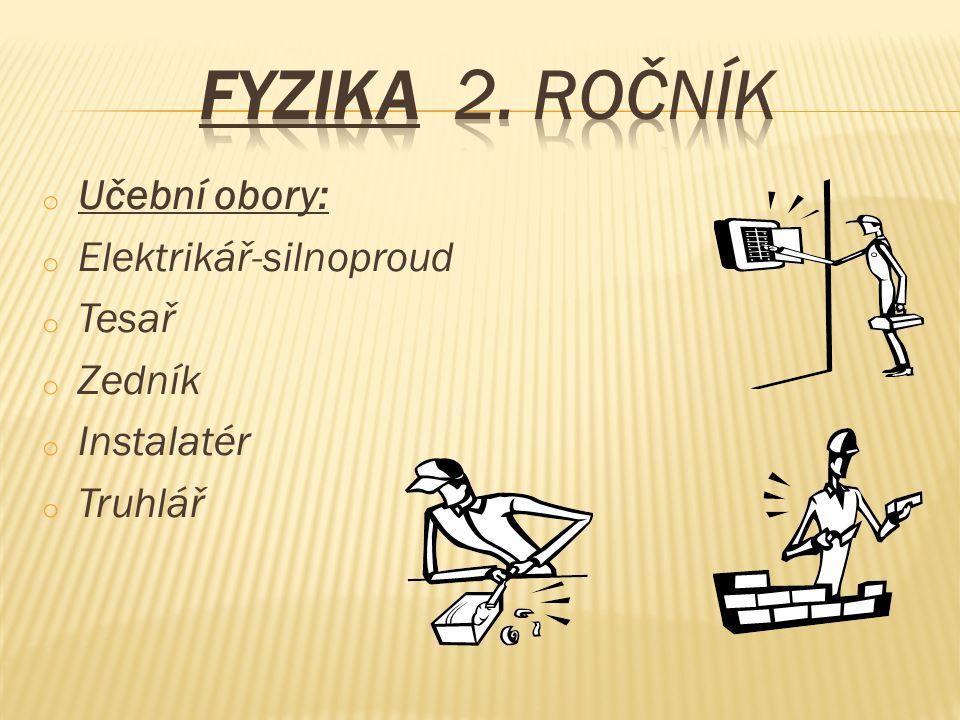 Fyzika 2. ročník Učební obory: Elektrikář-silnoproud Tesař Zedník