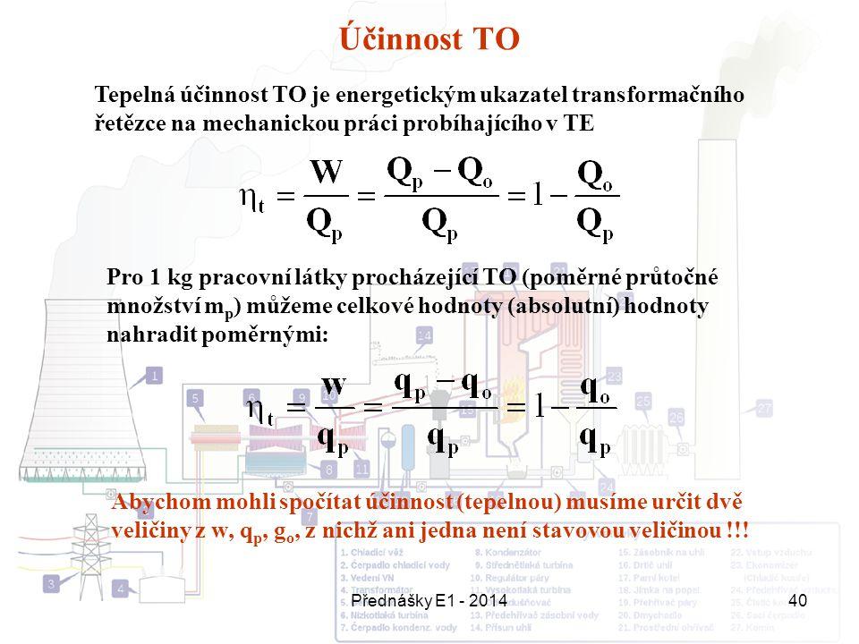 Účinnost TO Tepelná účinnost TO je energetickým ukazatel transformačního řetězce na mechanickou práci probíhajícího v TE.