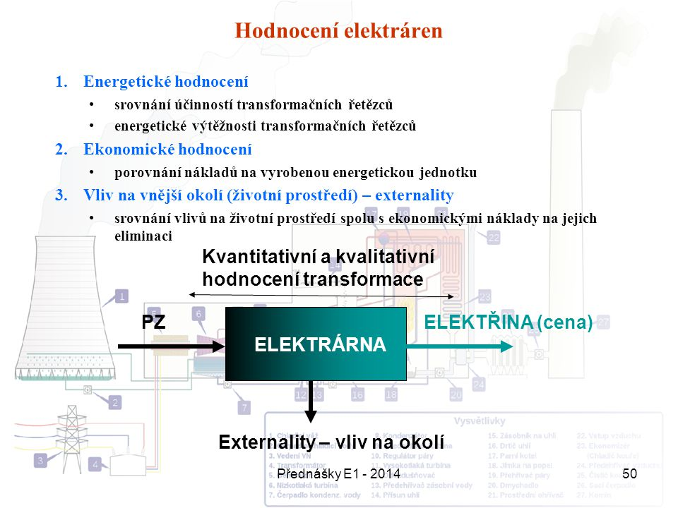Hodnocení elektráren Energetické hodnocení. srovnání účinností transformačních řetězců. energetické výtěžnosti transformačních řetězců.