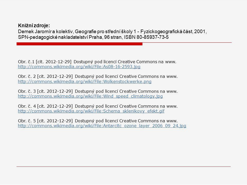 Knižní zdroje: Demek Jaromír a kolektiv, Geografie pro střední školy 1 - Fyzickogeografická část, 2001, SPN-pedagogické nakladatelství Praha, 96 stran, ISBN 80-85937-73-5
