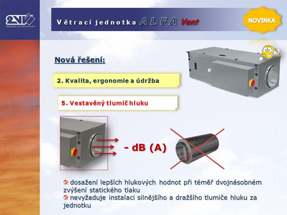 - dB (A) Nová řešení: V ě t r a c í j e d n o t k a A L F A Vent