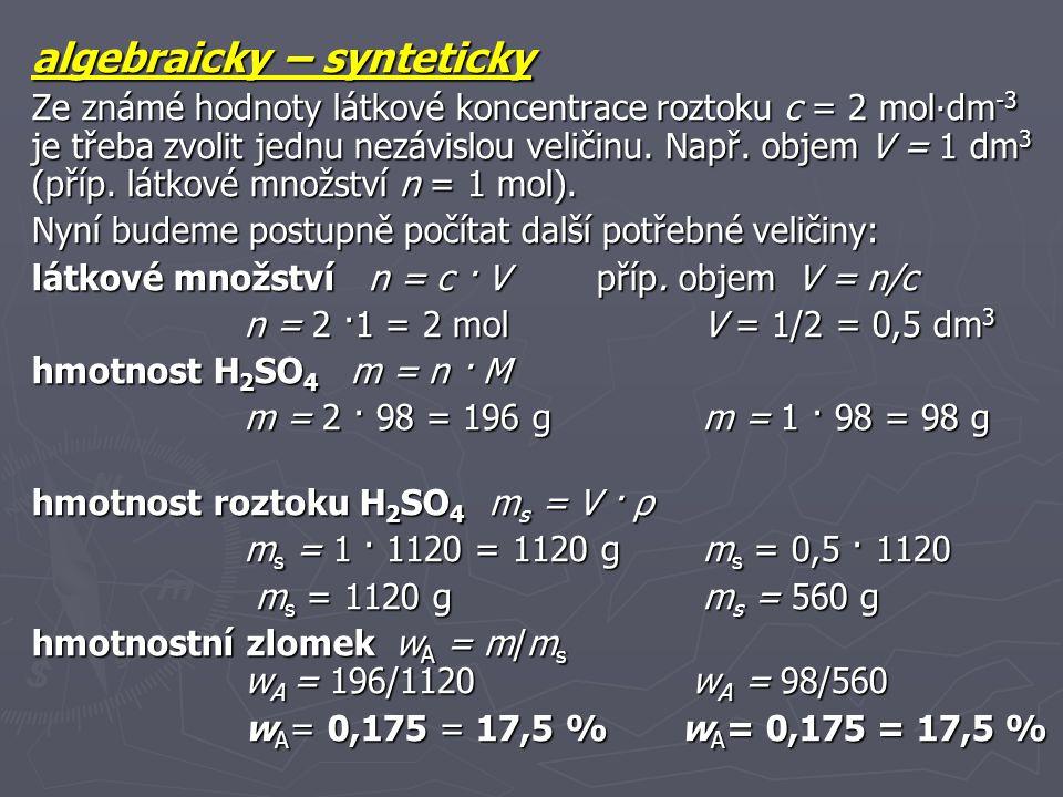 algebraicky – synteticky
