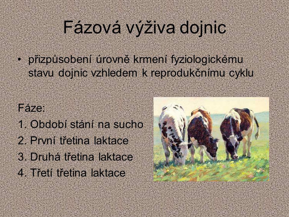 Fázová výživa dojnic přizpůsobení úrovně krmení fyziologickému stavu dojnic vzhledem k reprodukčnímu cyklu.