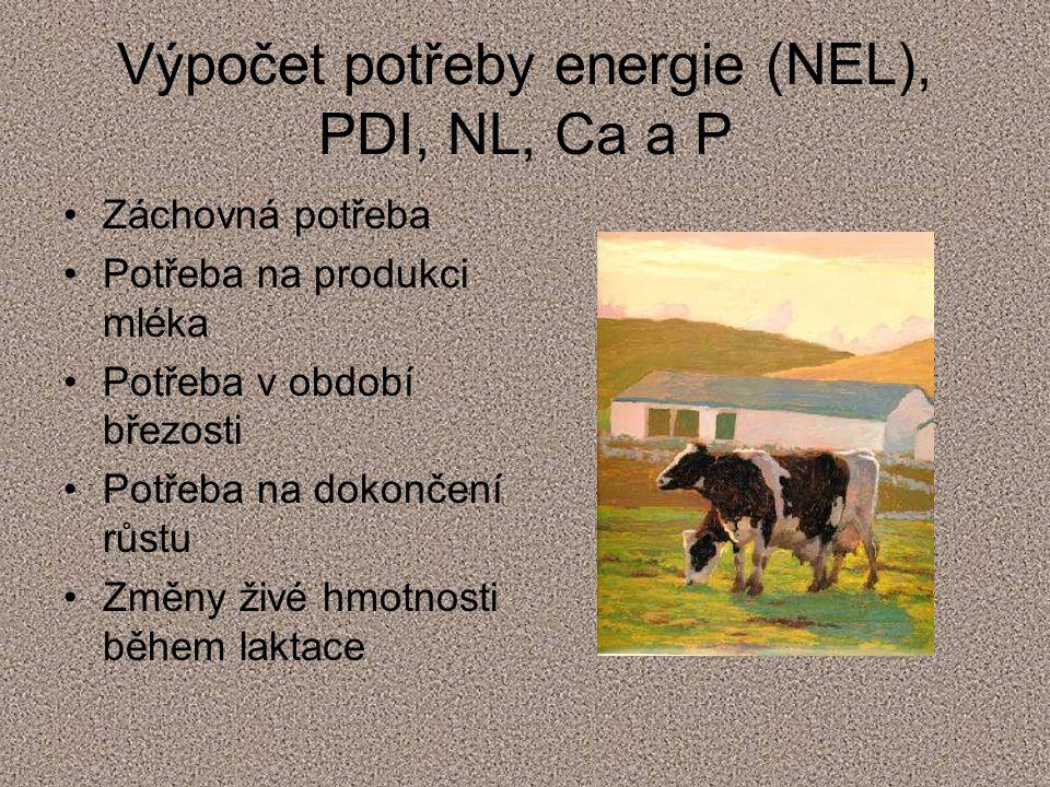 Výpočet potřeby energie (NEL), PDI, NL, Ca a P
