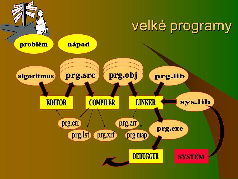 velké programy problém nápad prg.obj algoritmus prg.src prg.lib EDITOR
