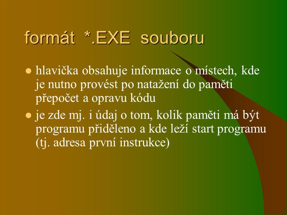 formát *.EXE souboru hlavička obsahuje informace o místech, kde je nutno provést po natažení do paměti přepočet a opravu kódu.