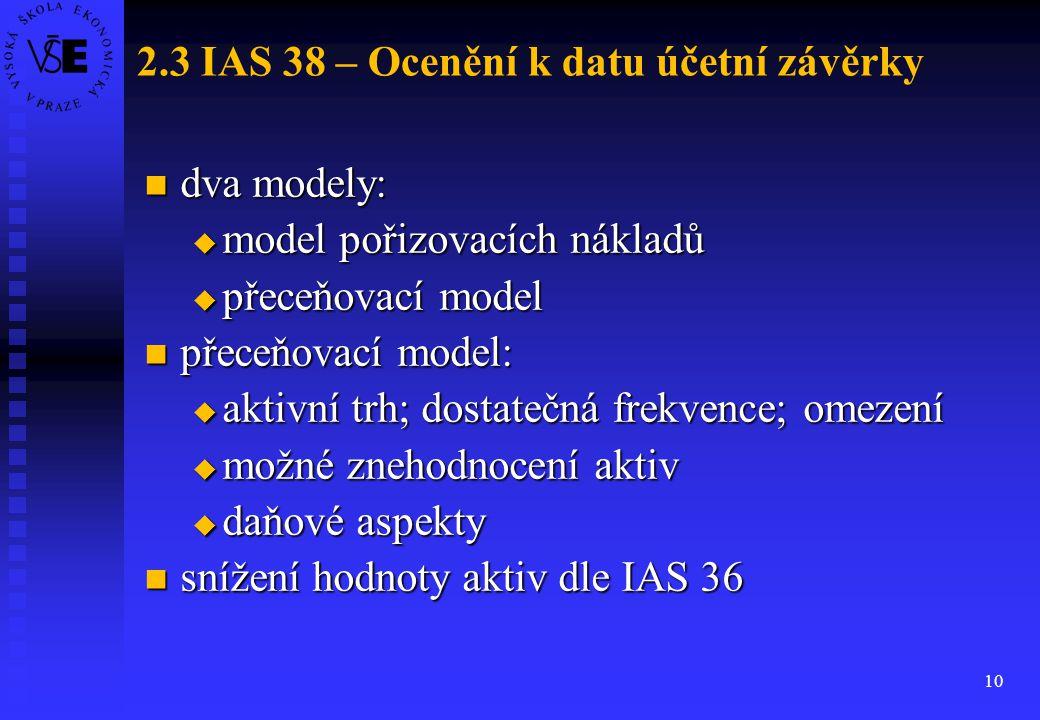 2.3 IAS 38 – Ocenění k datu účetní závěrky