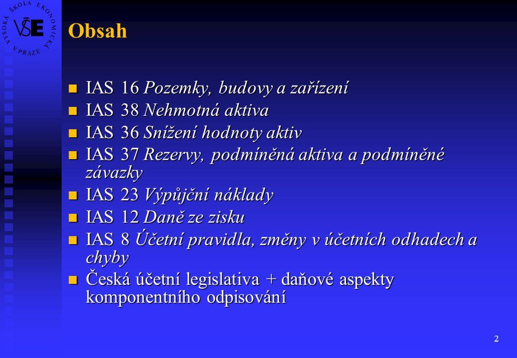 Obsah IAS 16 Pozemky, budovy a zařízení IAS 38 Nehmotná aktiva