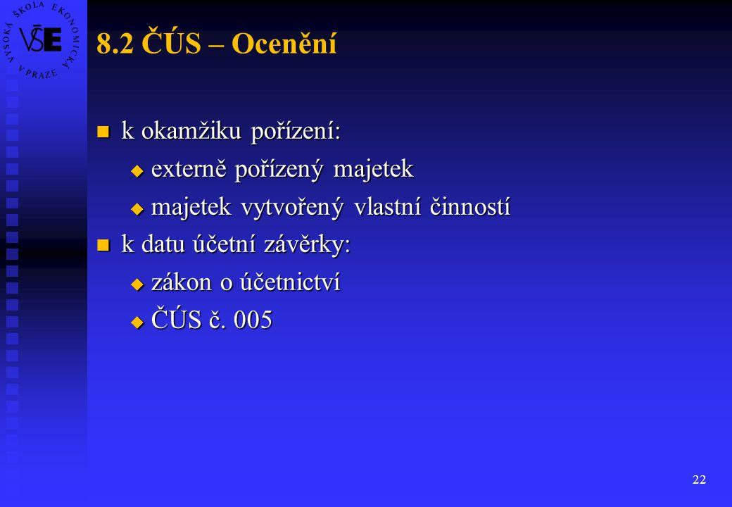 8.2 ČÚS – Ocenění k okamžiku pořízení: externě pořízený majetek