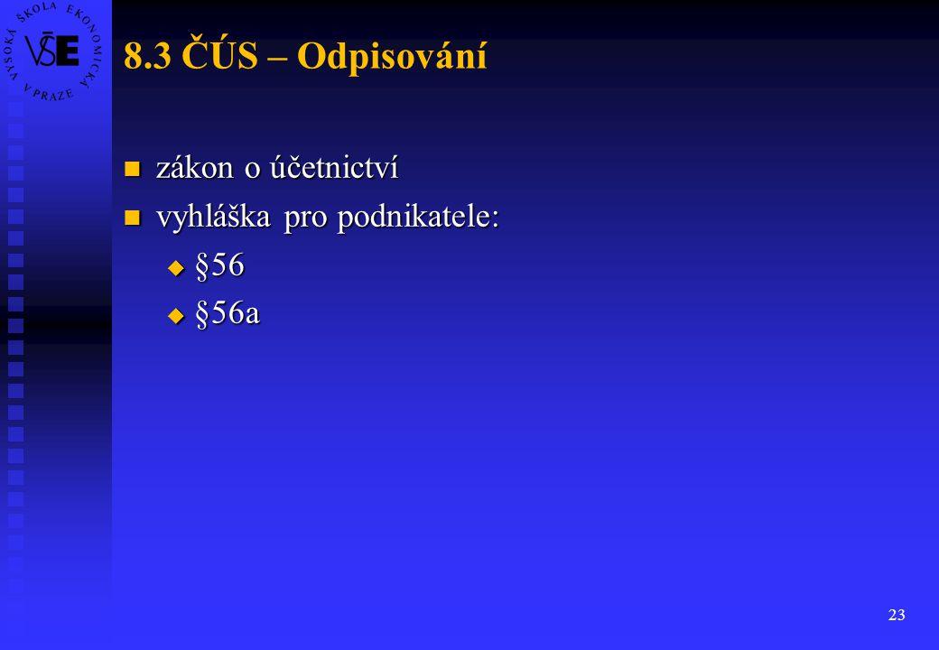 8.3 ČÚS – Odpisování zákon o účetnictví vyhláška pro podnikatele: §56
