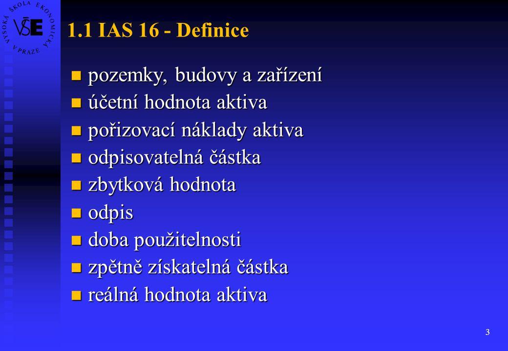 1.1 IAS 16 - Definice pozemky, budovy a zařízení. účetní hodnota aktiva. pořizovací náklady aktiva.