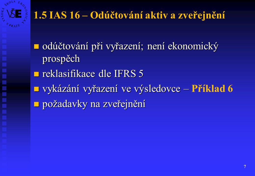 1.5 IAS 16 – Odúčtování aktiv a zveřejnění