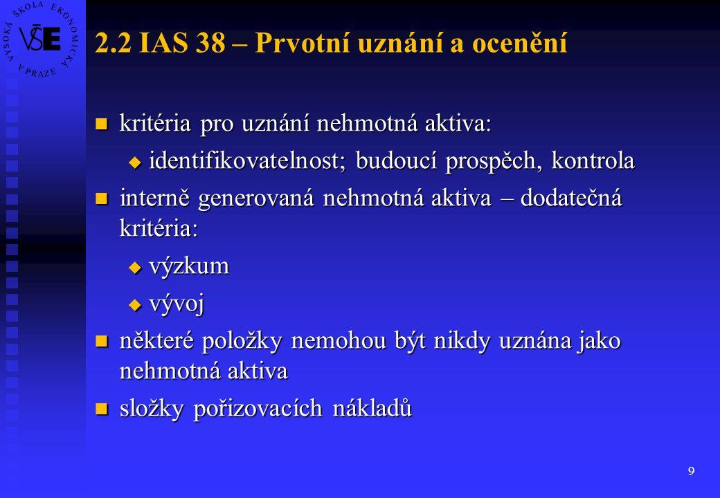 2.2 IAS 38 – Prvotní uznání a ocenění
