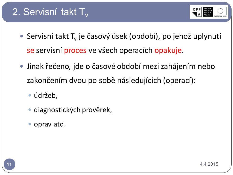 2. Servisní takt Tv Servisní takt Tv je časový úsek (období), po jehož uplynutí se servisní proces ve všech operacích opakuje.