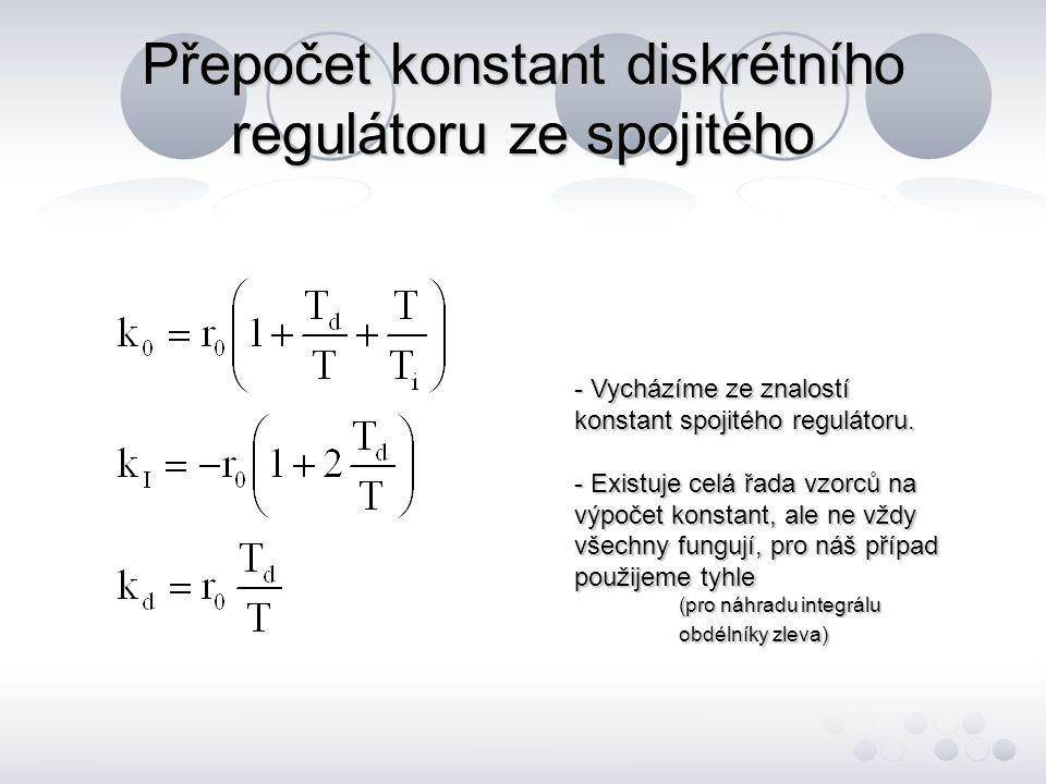 Přepočet konstant diskrétního regulátoru ze spojitého