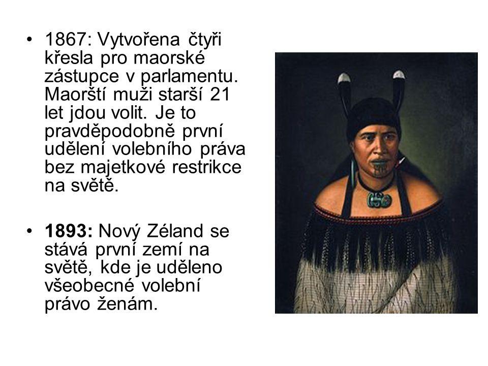 1867: Vytvořena čtyři křesla pro maorské zástupce v parlamentu