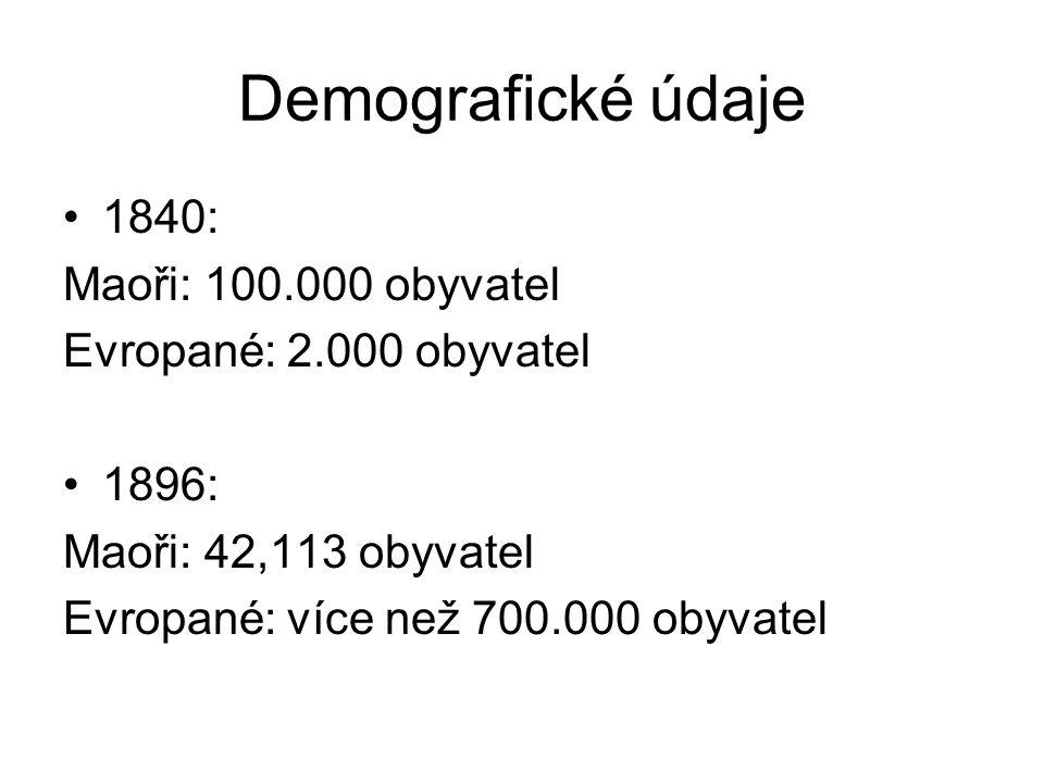 Demografické údaje 1840: Maoři: 100.000 obyvatel