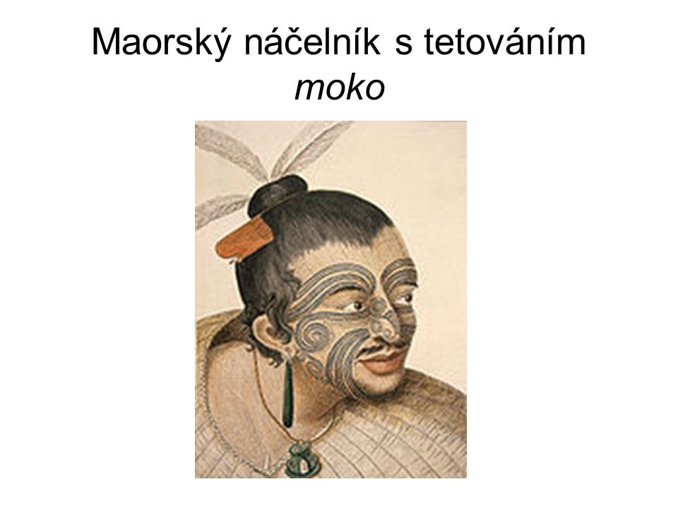Maorský náčelník s tetováním moko