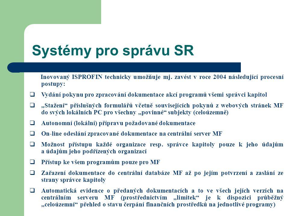 Systémy pro správu SR Inovovaný ISPROFIN technicky umožňuje mj. zavést v roce 2004 následující procesní postupy: