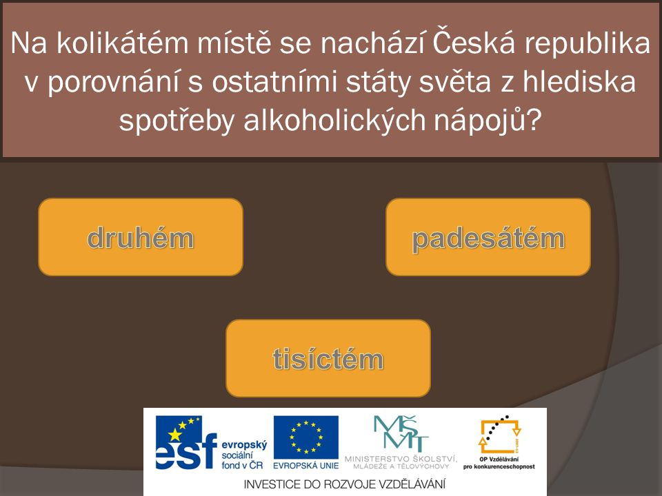 Na kolikátém místě se nachází Česká republika v porovnání s ostatními státy světa z hlediska spotřeby alkoholických nápojů