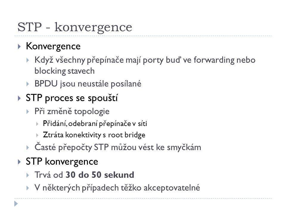 STP - konvergence Konvergence STP proces se spouští STP konvergence