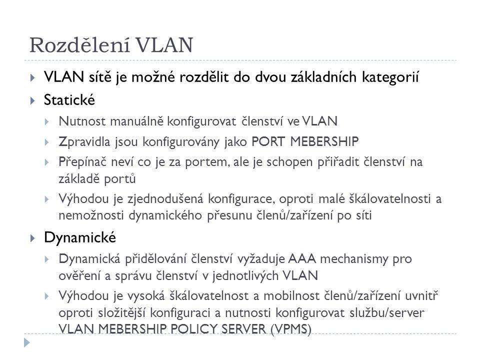 Rozdělení VLAN VLAN sítě je možné rozdělit do dvou základních kategorií. Statické. Nutnost manuálně konfigurovat členství ve VLAN.