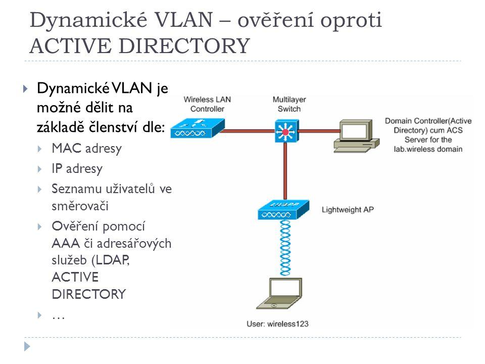 Dynamické VLAN – ověření oproti ACTIVE DIRECTORY