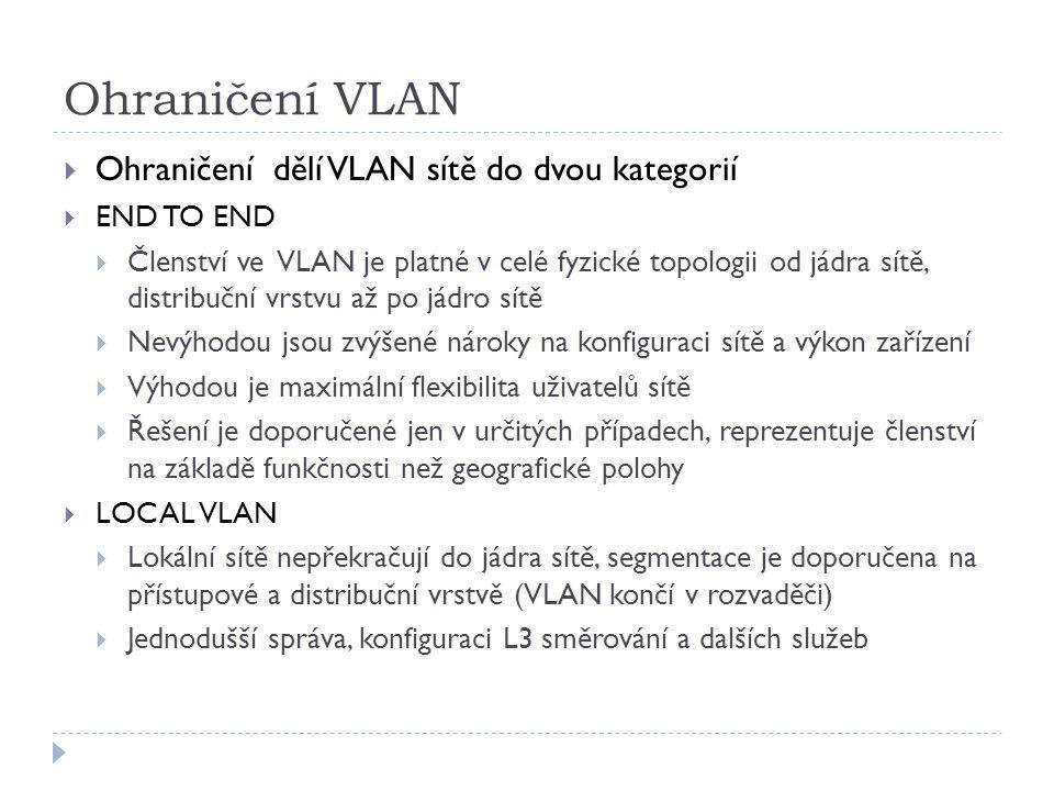 Ohraničení VLAN Ohraničení dělí VLAN sítě do dvou kategorií END TO END