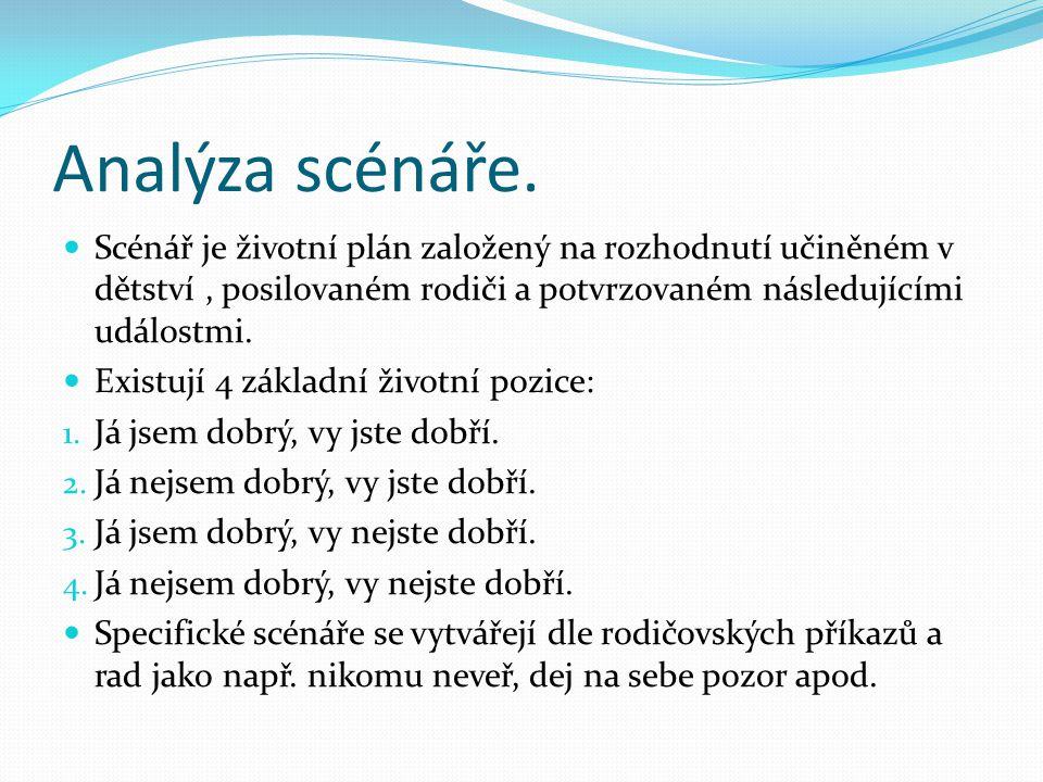 Analýza scénáře. Scénář je životní plán založený na rozhodnutí učiněném v dětství , posilovaném rodiči a potvrzovaném následujícími událostmi.